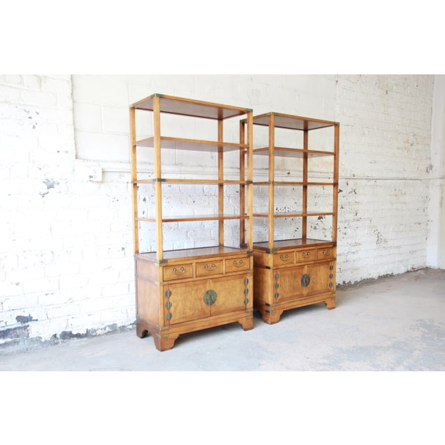 Asian Michael Taylor for Baker Far East Collection Burl Wood Wall Units, Pair For Sale - Image 3 of 13