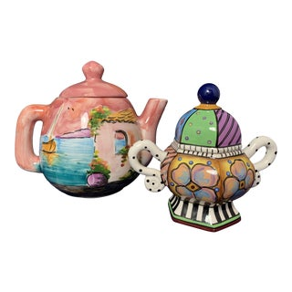 Hand-painted Mediterranean Sugar Bowl and Teapot - a Pair For Sale
