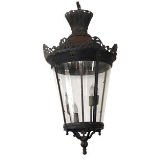 20th Century Outdoor Wrought Iron Hanging Lantern For Sale