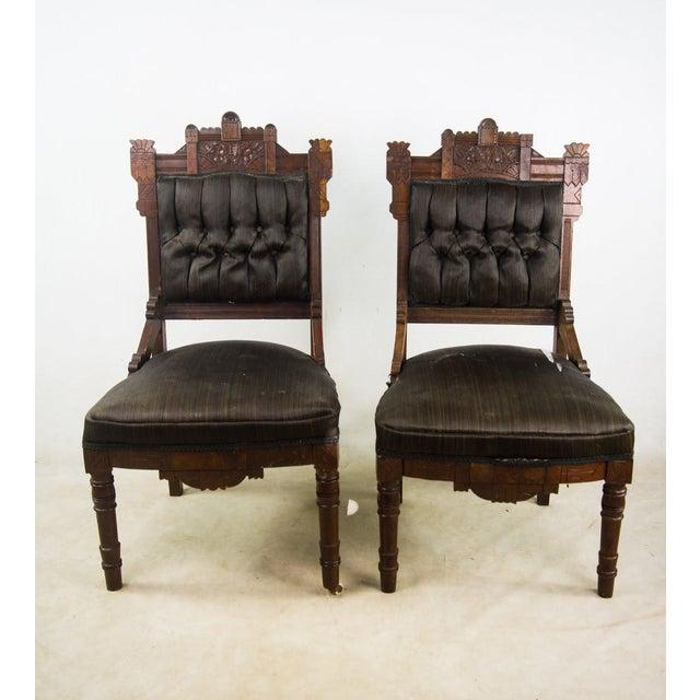 Antique Victorian Eastlake Black Slipper Chairs - a Pair For Sale - Image  10 of 10 - Antique Victorian Eastlake Black Slipper Chairs - A Pair Chairish