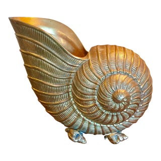 Mid-Century Brass Nautilus Shell Wine Cooler / Bottle Holder For Sale