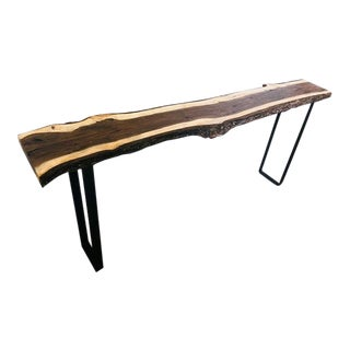 Organic Mid Century Modern Live Edge Black Walnut Console or Entry Table For Sale