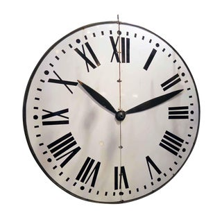 Large Enamel Steel Clock Face with Wooden Hands For Sale