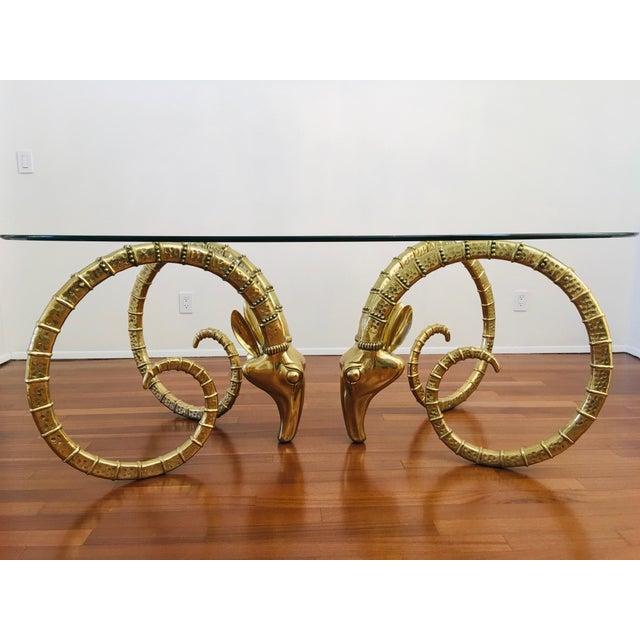 Vintage Brass Ram's Head / Gazelle Alain Chervet Style Hollywood Regency Dining Table For Sale - Image 12 of 13