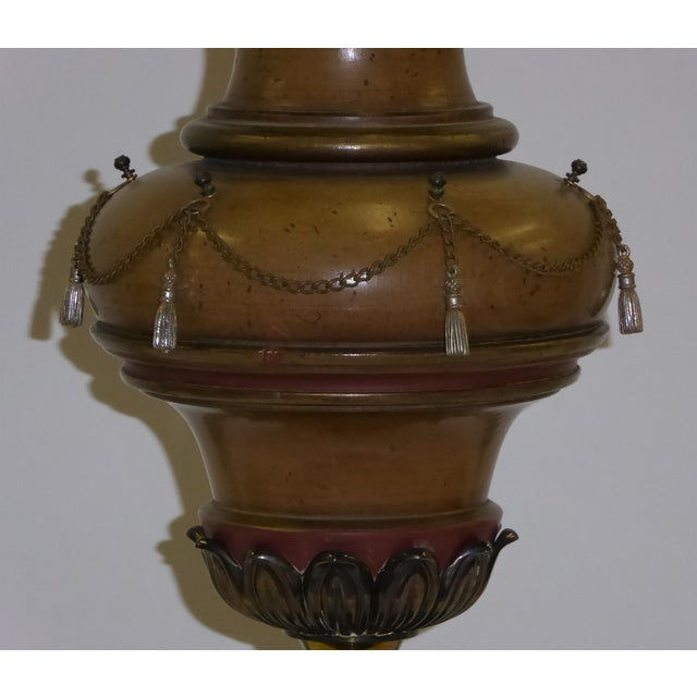 1940s Tall Hollywood Regency Faux Oil Table Lamp For Sale In Miami - Image 6 of 11