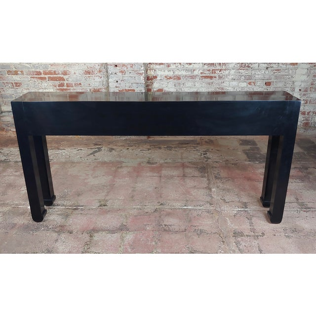 Black Fine Black Lacquer Console Table With 3 Drawers For Sale - Image 8 of 10