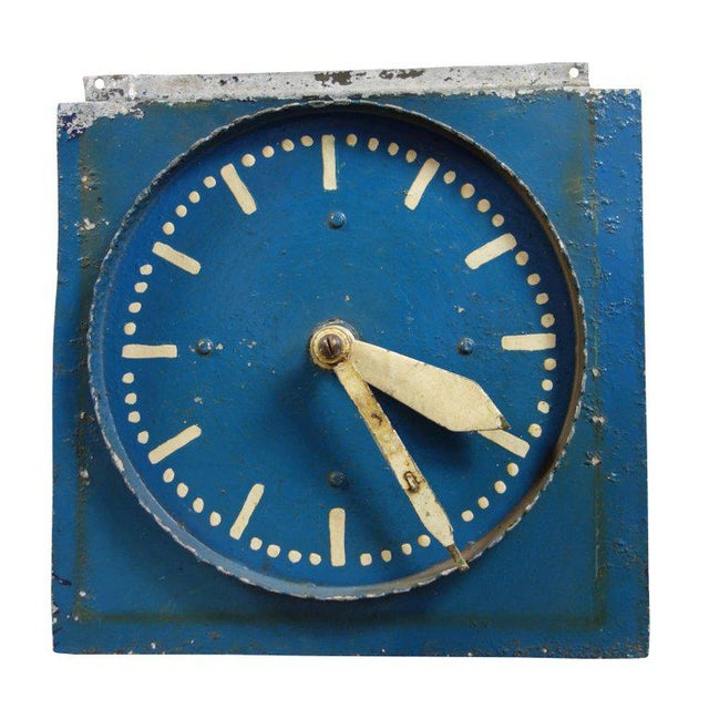 This is a unique hand painted double-sided aluminum clock from Belgium. It is believed to have been used as a teaching...