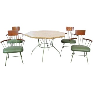 Vintage Mid Century Richard McCarthy Americana Iron Wood & Pebble Dining Set- 5 Pieces For Sale