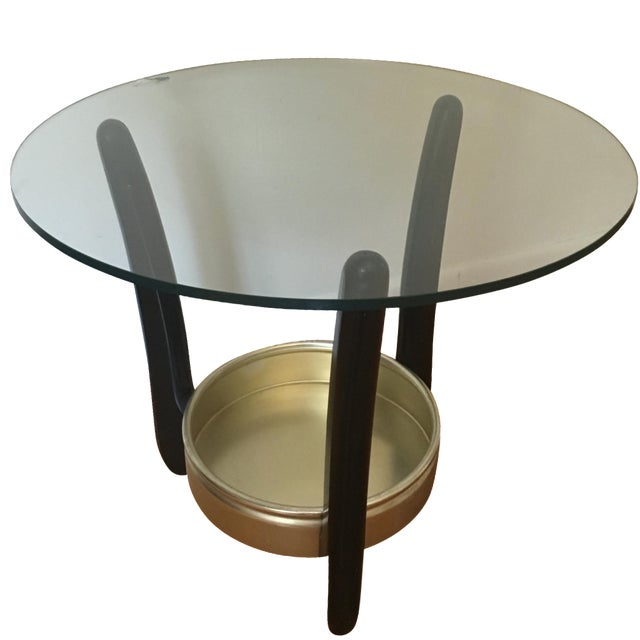 Mid-Century Round Glass Top End Table - Image 1 of 3