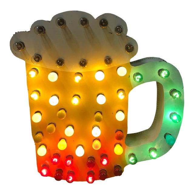 1960s Light Up Double Sided Beer Mug Sign For Sale