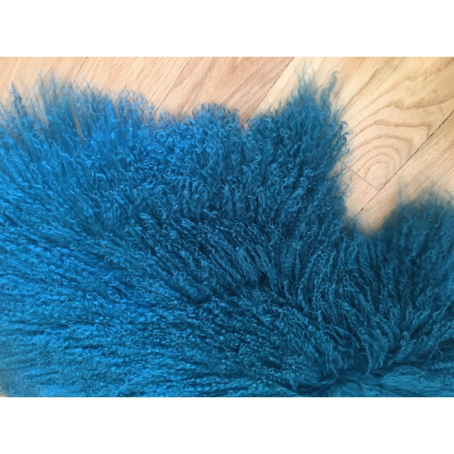 Contemporary Turquoise Tibetan Lamb Fur Rug - 2′9″ × 4′1″ For Sale - Image 3 of 6