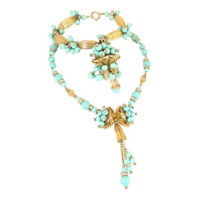 Miriam Haskell Turquoise Glass Necklace & Bracelet Set, Made in Germany 1950s For Sale