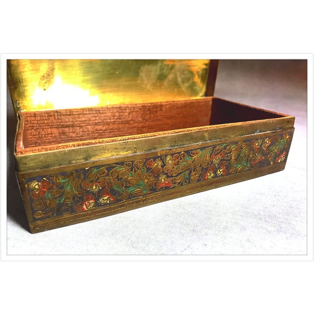 Green Antique French Enamel Champleve Box For Sale - Image 8 of 11