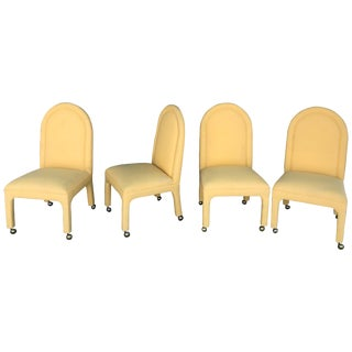 Indoor or Outdoor Dining Chairs in Yellow Sunbrella Fabric - Set of 4 For Sale