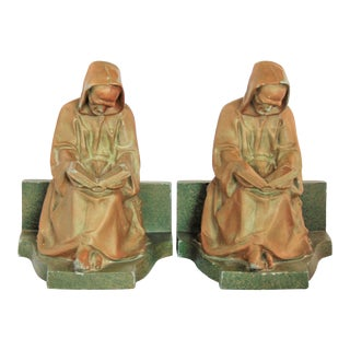 Vintage Cast Metal Reading Monk Bookends - a Pair For Sale