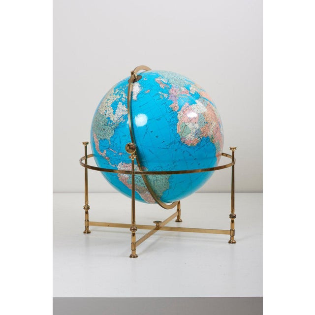 Gold Huge Vintage Illuminated Globe With Brass Stand For Sale - Image 8 of 13