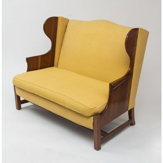 Original 1970s Stickley Love Seat in Yellow Fabric - Image 2 of 4