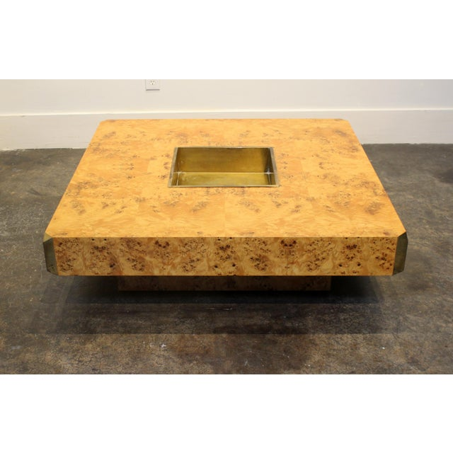 Gold 1970's Italian Willy Rizzo Burl Wood and Brass Coffee Table. For Sale - Image 8 of 8