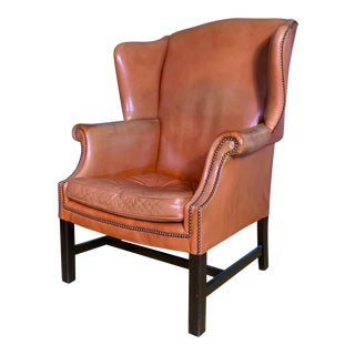 Mid-Century Leather Wingback Chair For Sale