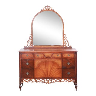 Early Herman Miller Carved Walnut and Burl Wood Five-Drawer Dresser With Mirror, Circa 1920s For Sale
