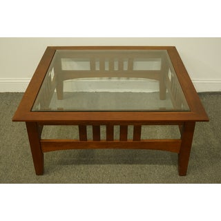 Ethan Allen American Impressions Square Accent Coffee Table With Glass Top Preview