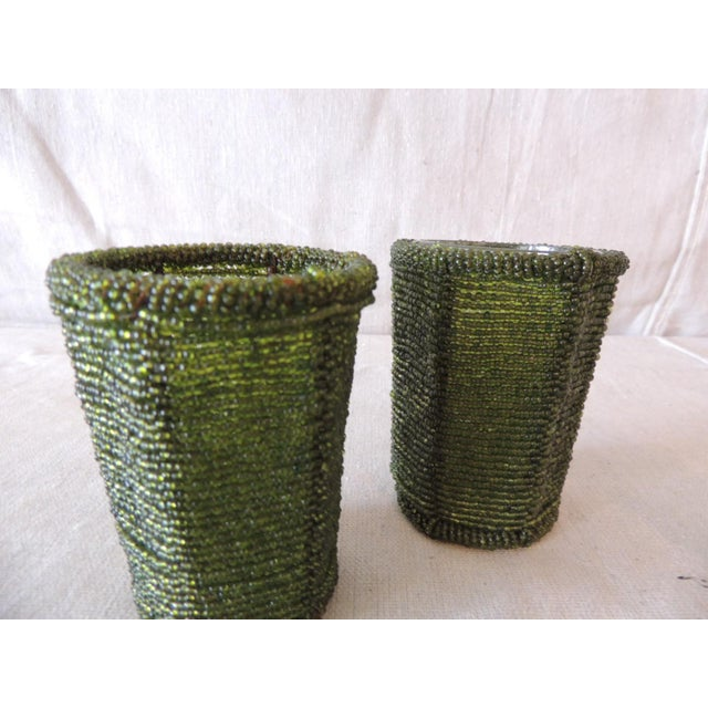 Emerald Green Glass Beaded Votive Holders For Sale - Image 4 of 5