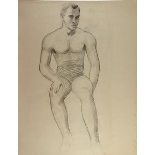 Studio Drawing Male Figure 1950's For Sale