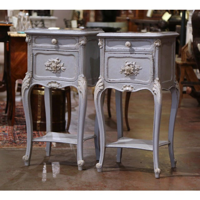 Late 19th Century Pair of 19th Century French Louis XV Carved Painted Nightstands With Marble Top For Sale - Image 5 of 12