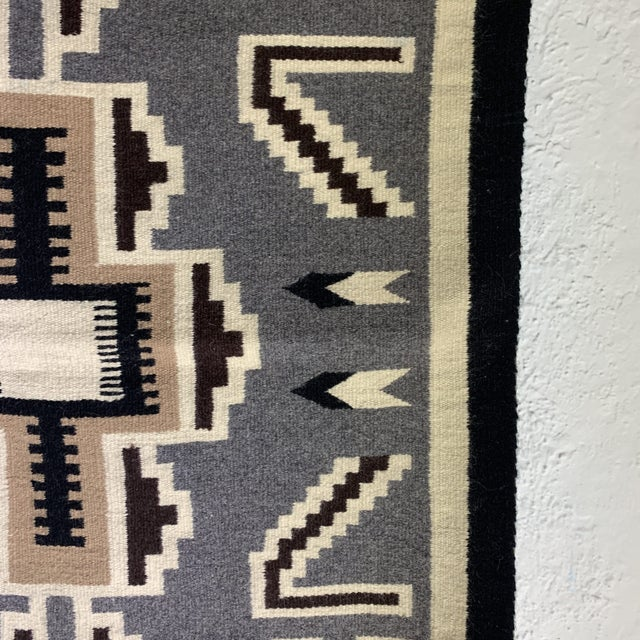1970s Vintage Navajo Two Grey Hills Rug-2'4'x3'9 For Sale - Image 5 of 12