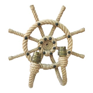 Rope Ship Wheel Sconce Audoux Minet, Circa 1960 For Sale