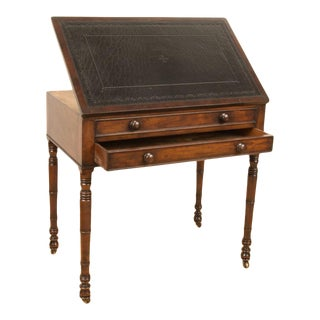 19th Century English Mahogany Leather Top Architect's Desk For Sale