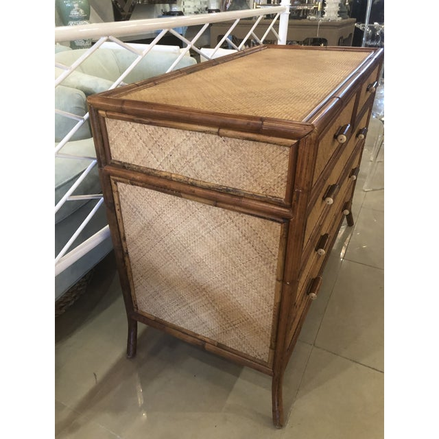 Wood Vintage E. Murio Chinoiserie Tropical Rattan Burnt Bamboo Grasscloth Chest of Drawers Dresser Credenza For Sale - Image 7 of 13
