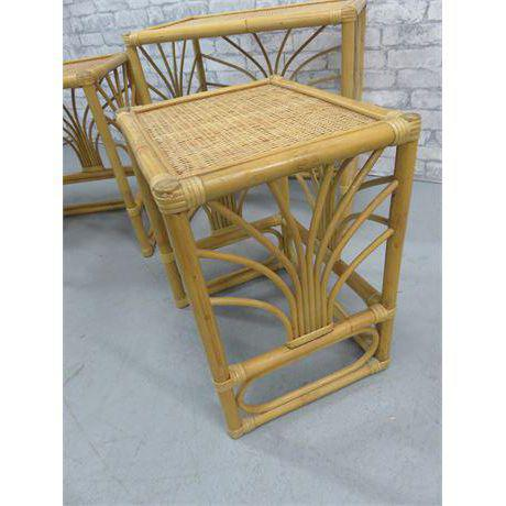 Asian 20th Century Rattan Bamboo Nesting Tables - Set of 3 Last Call Firm For Sale - Image 3 of 5