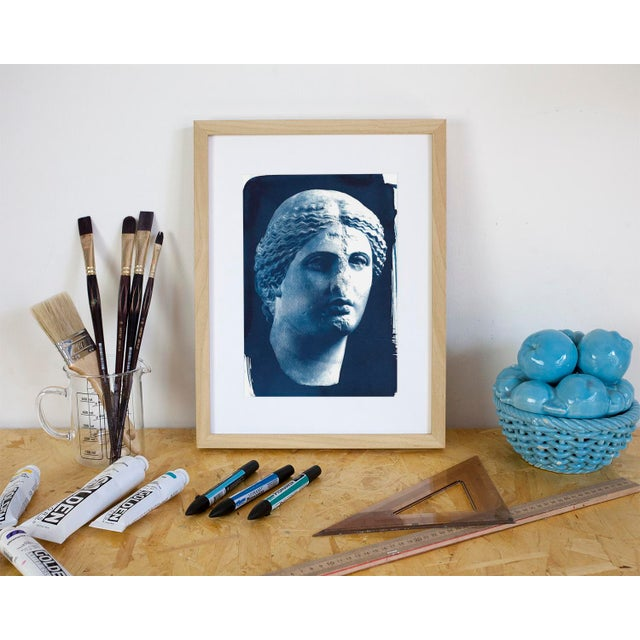 Hollywood Regency Roman Woman Bust Sculpture, Cyanotype, A4 size (Limited Edition) For Sale - Image 3 of 4