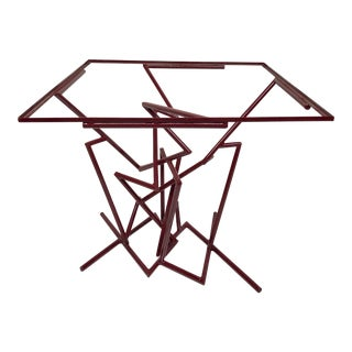 Sculptural Enamel Metal Post Modern Table For Sale