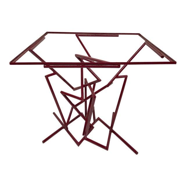 Sculptural Enamel Metal Post Modern Table For Sale