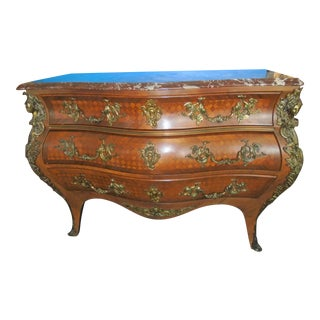Louis XV Style Marquetry Bombe Commode For Sale