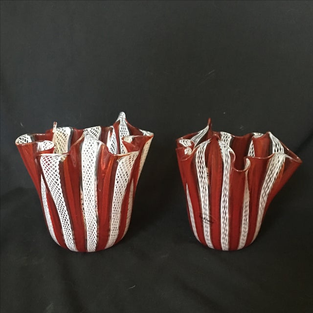 Venini Murano Handkerchief Vases - A Pair - Image 2 of 9