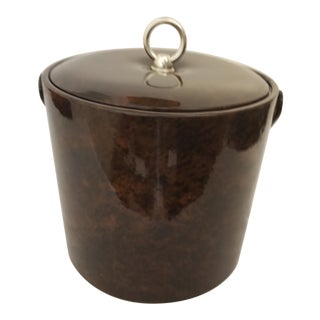 Vintage 1970s Georges Briard Tortoise Shell and Patent Leather Ice Bucket For Sale