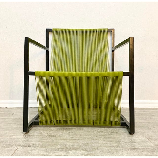 Kelly Green Mid Century Modern Style Iron and Vinyl Threaded Side Chair For Sale - Image 8 of 8