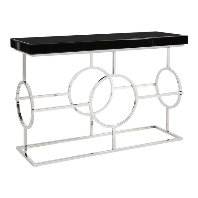 Kenneth Ludwig Stainless Steel Circle Console For Sale
