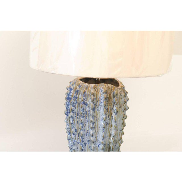 Mid-Century Modern Fabulous Pair of Textured Portuguese Ceramic Vessels as Custom Lamps For Sale - Image 3 of 10