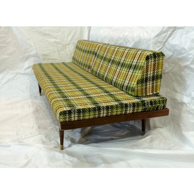 Mid-Century Green Plaid Daybed Sofa For Sale - Image 4 of 10
