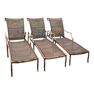 Faux Bamboo Patio Chaise Lounge Chairs - 3 Available For Sale