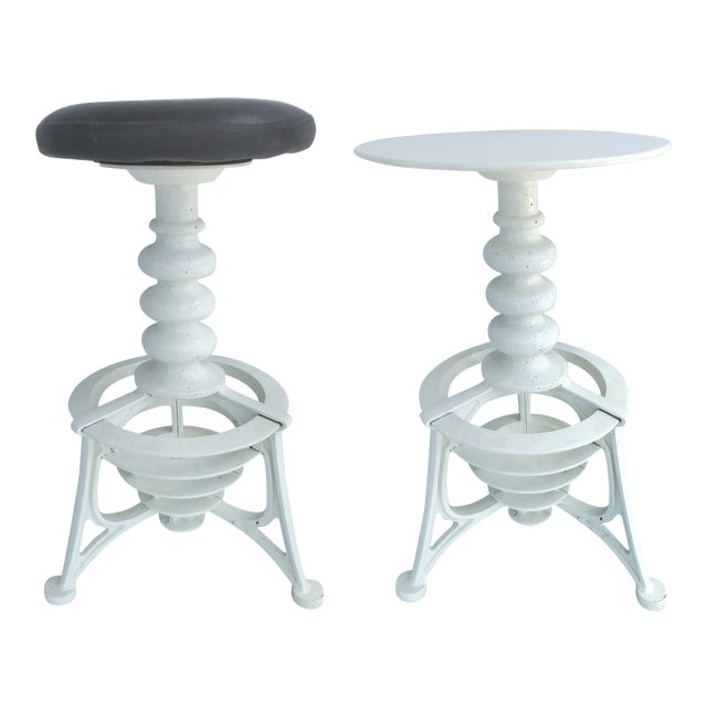 Industrial Interchangeable Tables/Stools - A Pair For Sale