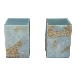 1990s Post Modern Onyx End Tables - a Pair For Sale