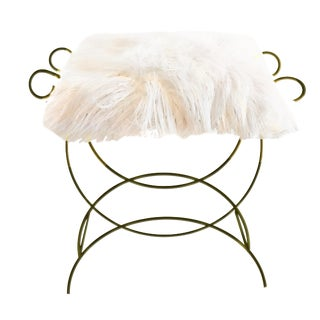 1950s Gilded Metal Hollywood Regency Vanity Bench & Faux Fur Seat Cushion For Sale