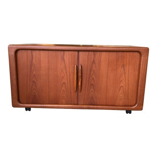 Dyrlund Teak Tambour Door Media Cabinet on Casters For Sale