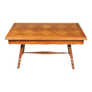 Mid-Century French Oak Diamond Pattern Inlay Trestle Dining Table For Sale