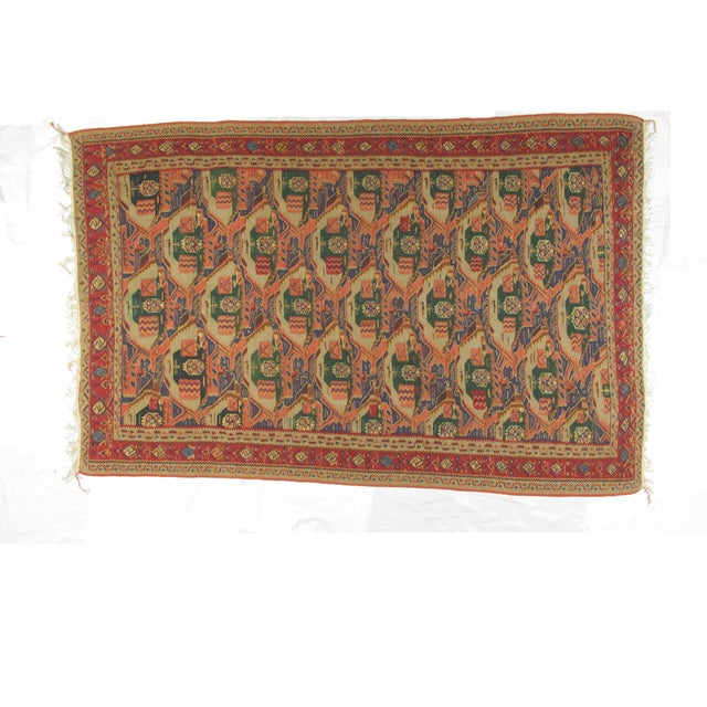 Wool, hand woven vintage Persian Afshar kilim in excellent condition.